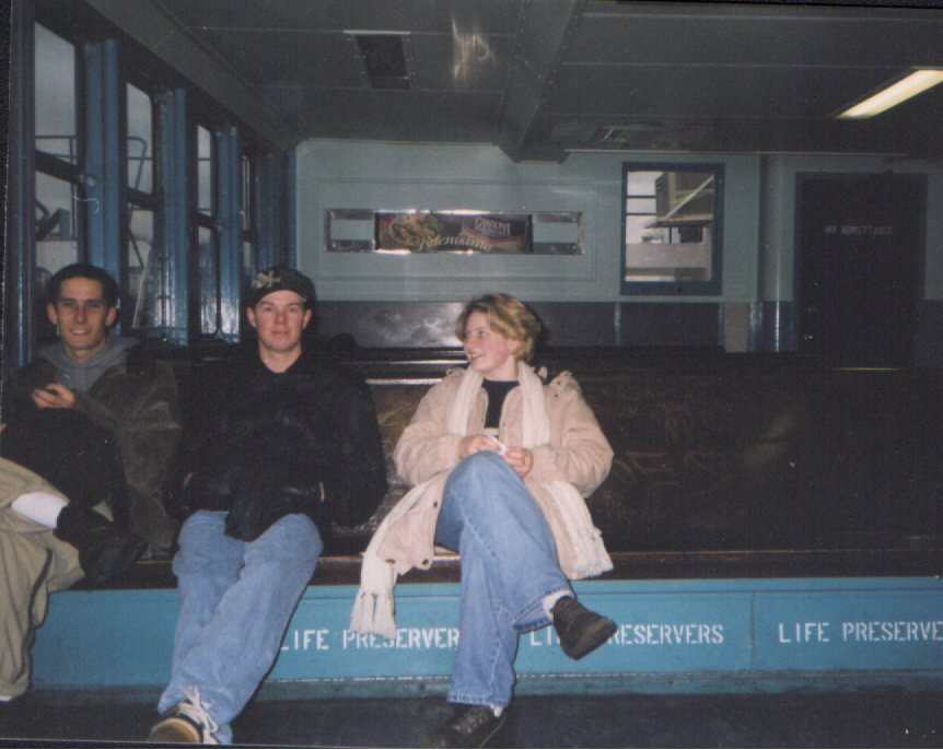 Brian, Clinton, and I on a ferry.